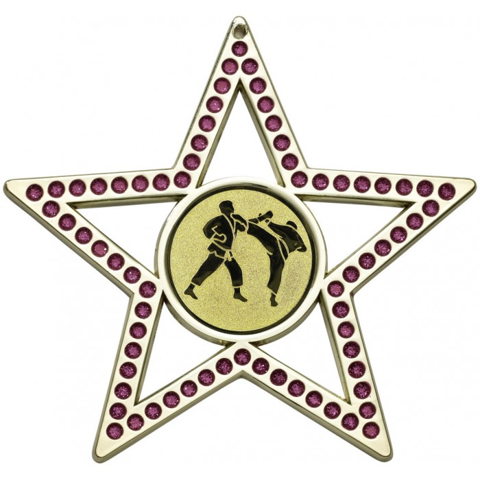 75MM PINK STAR MARTIAL ARTS MEDAL - GOLD, SILVER, BRONZE